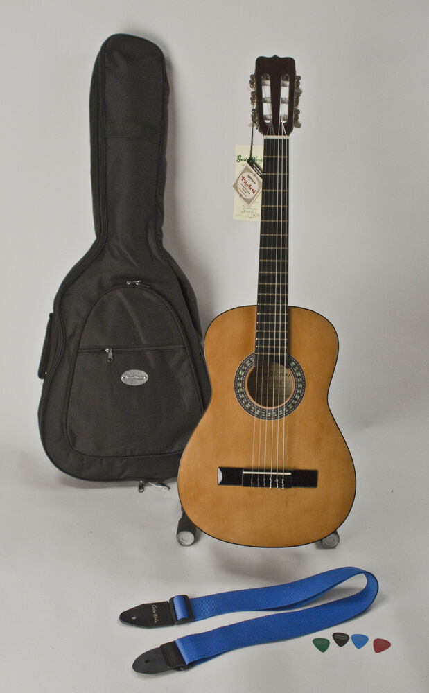 left handed guitar 3 4 size with easy playing nylon strings for child or adult ebay. Black Bedroom Furniture Sets. Home Design Ideas