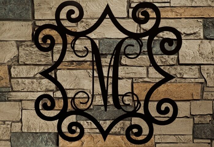 Single initial steel monogram with wrought iron inspired