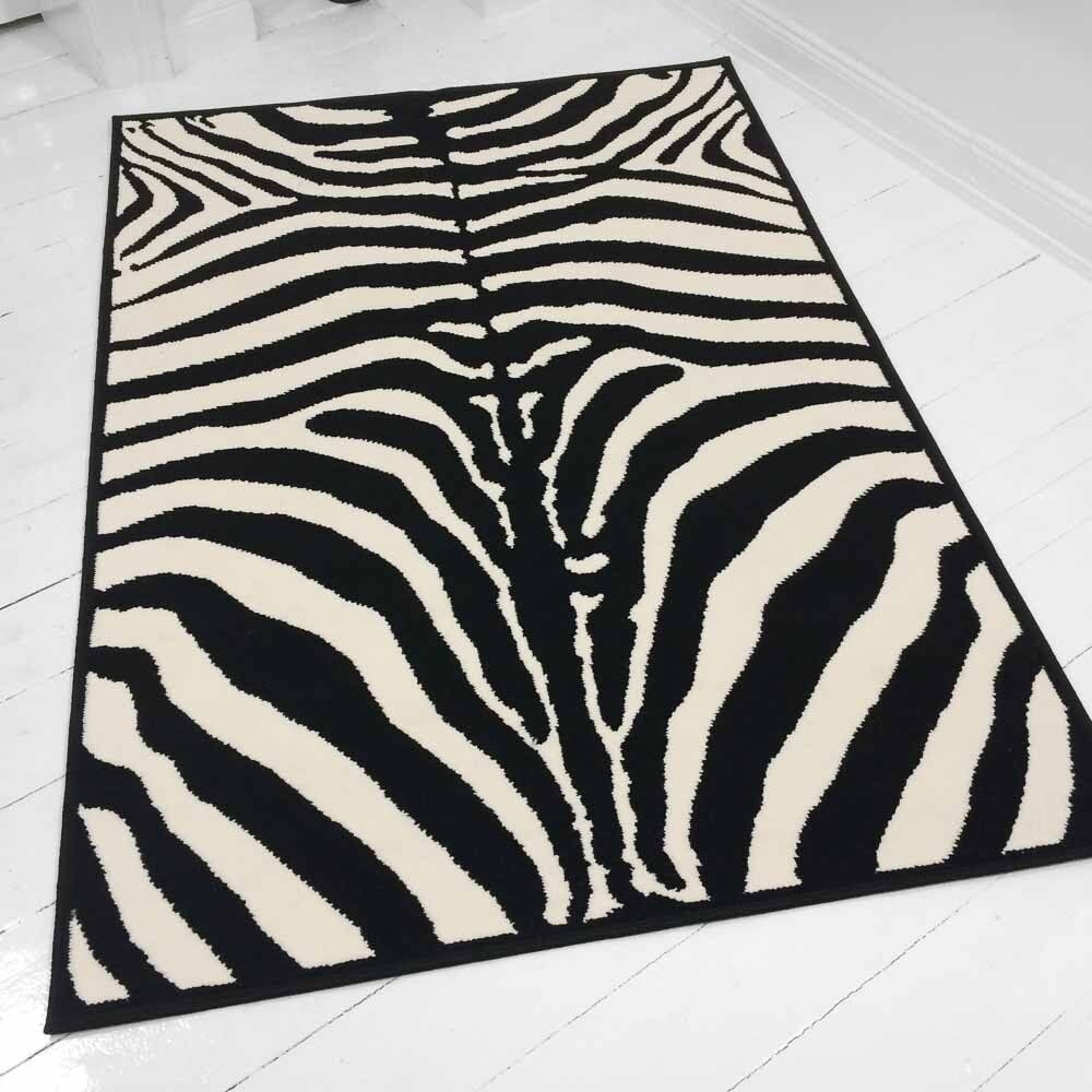 zebra teppich designer teppich zebra schwarz creme fell afrika teppich skin neu ebay. Black Bedroom Furniture Sets. Home Design Ideas