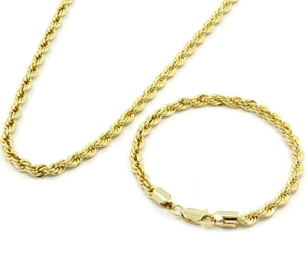 mens gold rope bracelet s 14k gold plated 24 quot inch 5mm hip hop dookie rope 3898