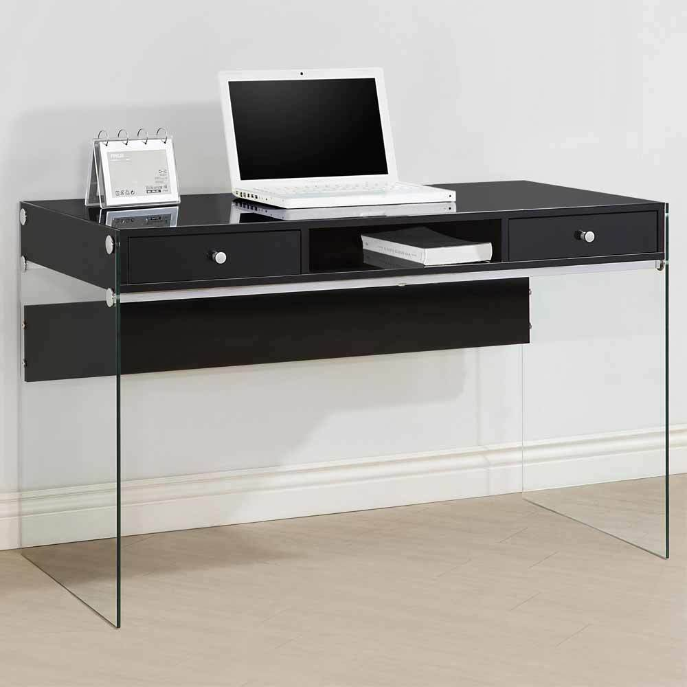 modern style study home office computer desk clear glass