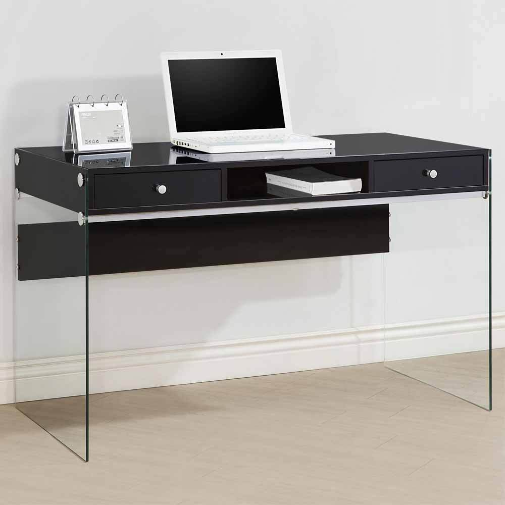 modern style study home office computer desk clear glass sides legs