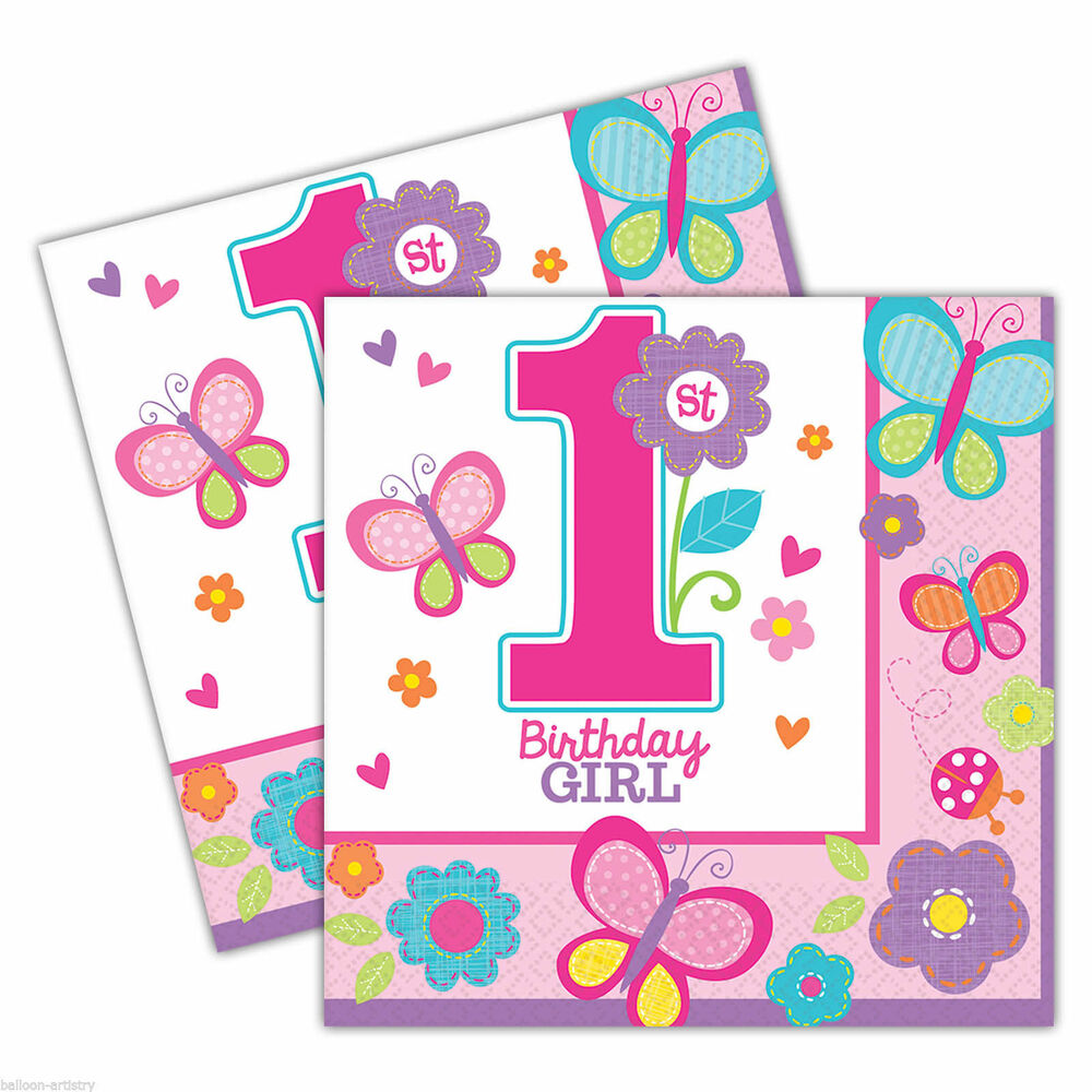 36 Sweet Pink Butterfly Girl's 1st Birthday Party