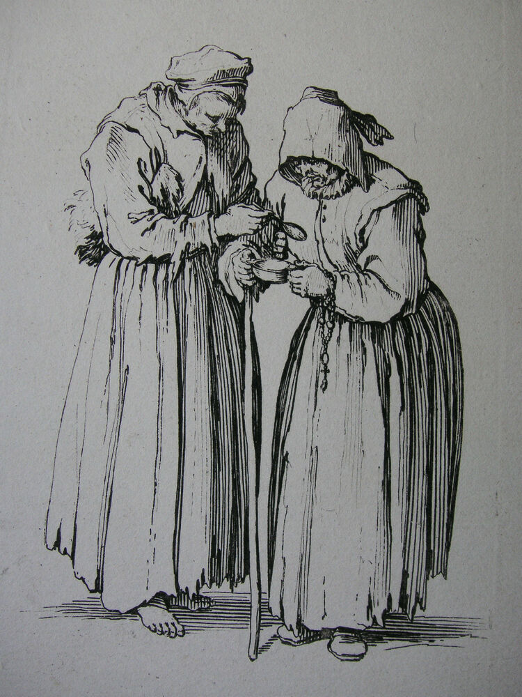 17 Jahrhundert Bild Architektur: JACQUES CALLOT ´ZWEI BETTLERINNEN, LES GUEUX, TWO WOMEN IN