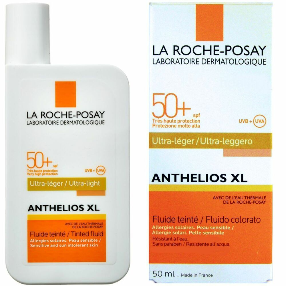 la roche posay anthelios xl spf 50 fluid ultra light 50ml tinted ebay. Black Bedroom Furniture Sets. Home Design Ideas