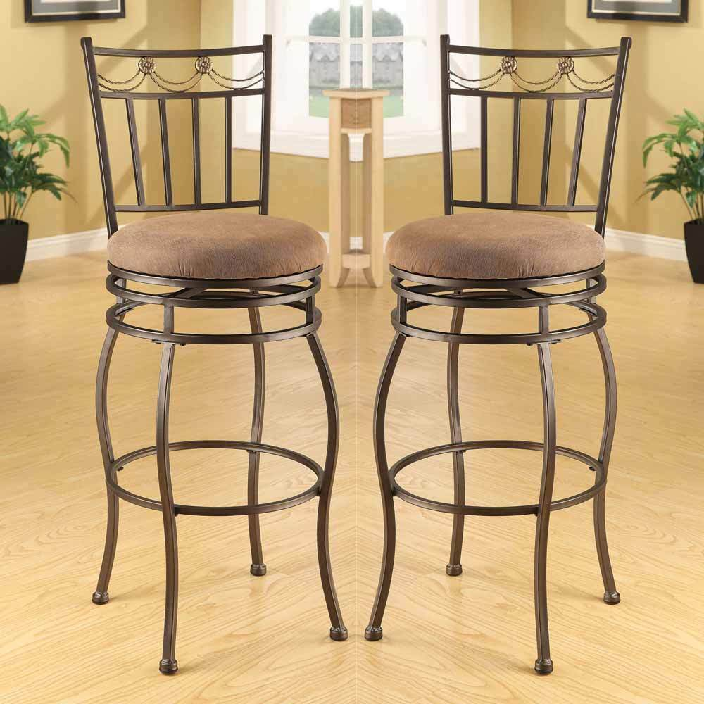 Tavio Set Of 2 Dark Bronze Metal 29 Quot H Swivel Bar Stools
