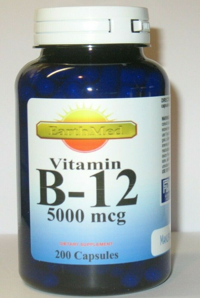 vitamin b 12 5000mcg 200 capsules freshly made expires 2021 ebay. Black Bedroom Furniture Sets. Home Design Ideas
