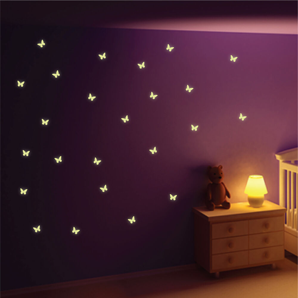 Glow In The Dark Butterfly Wall Stickers, Wall Decals