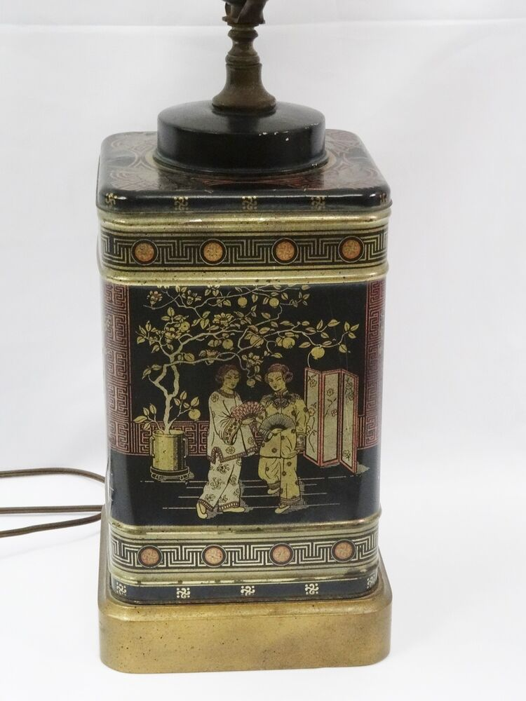 Vintage 60s Frederick Cooper Chinese Chinoiserie Tin Tea