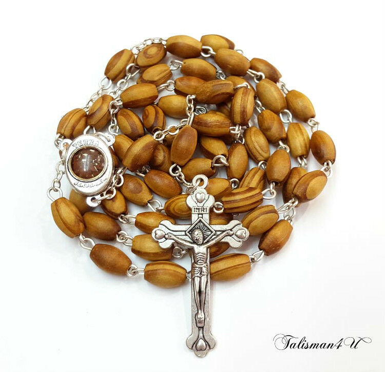 Olive Wood Rosary Necklace Oval Beads Holy Jerusalem Soil