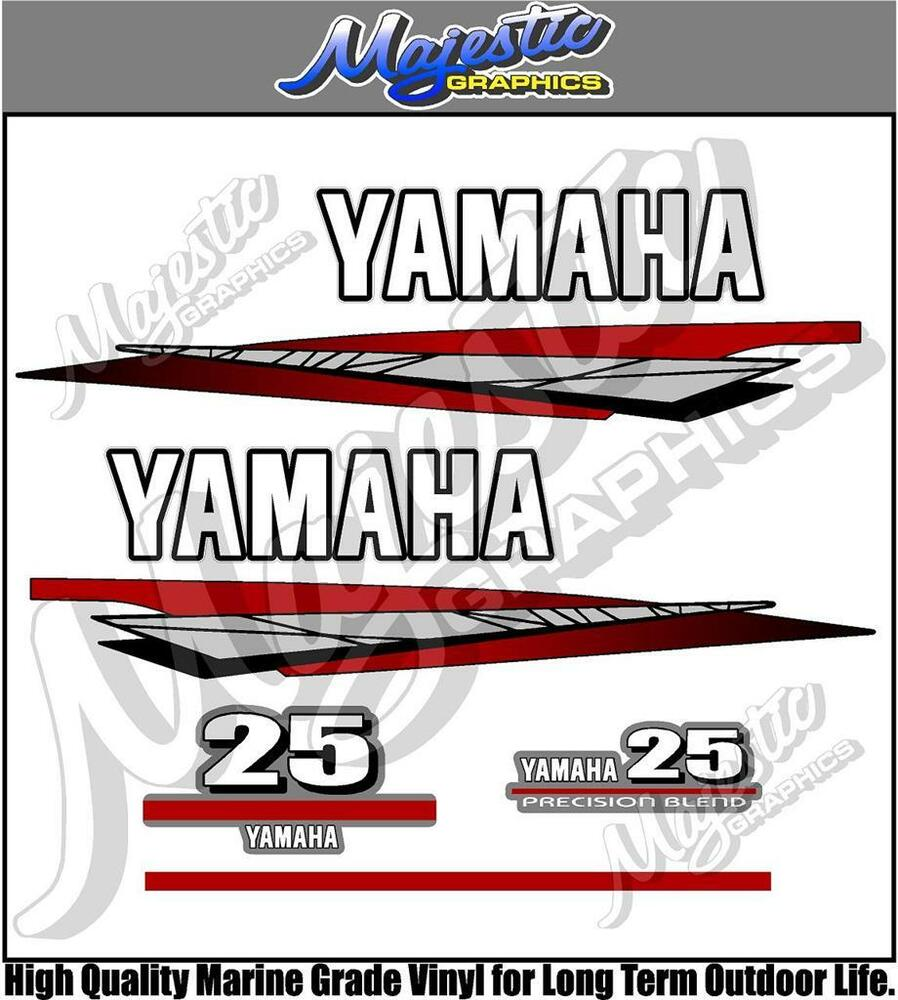 Yamaha 25hp 2 stroke outboard decals ebay for Yamaha boat decals graphics
