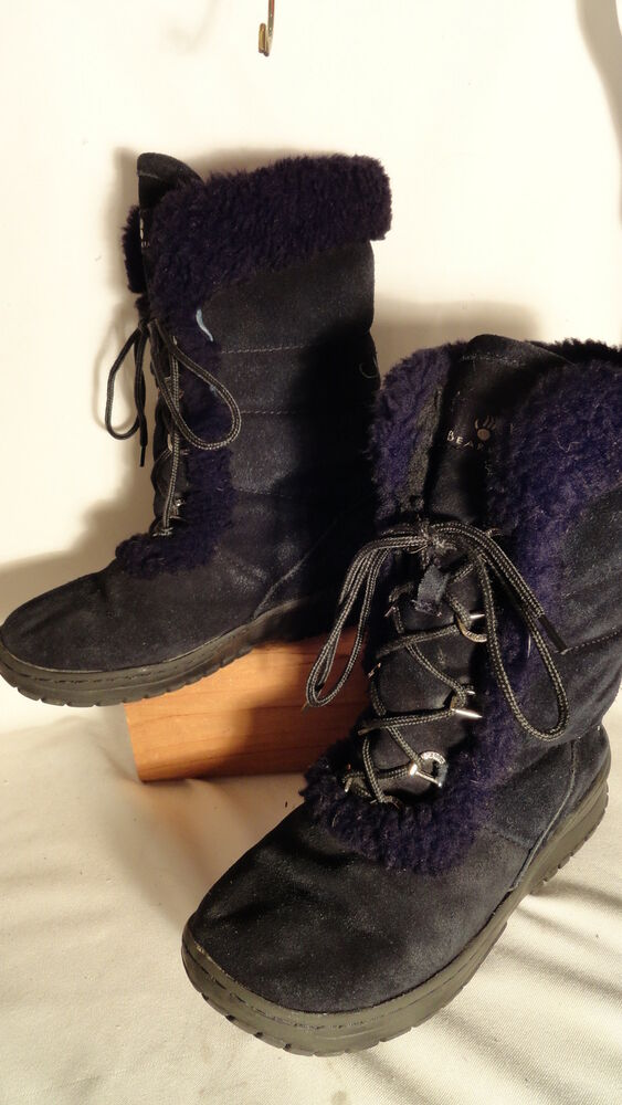 Bear Paw Black Suede Shearling Lined Lace Up Boots
