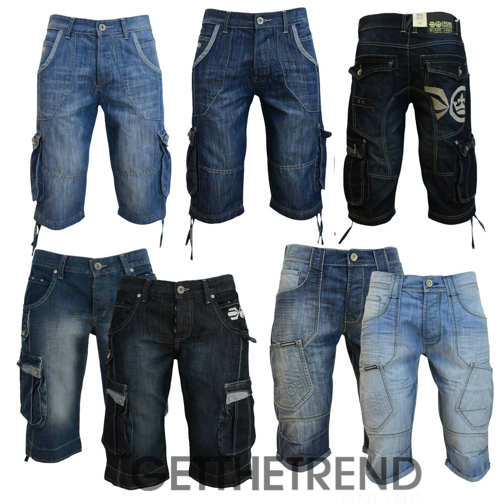 mens denim jeans shorts crosshatch combat casual cargo 3 4. Black Bedroom Furniture Sets. Home Design Ideas