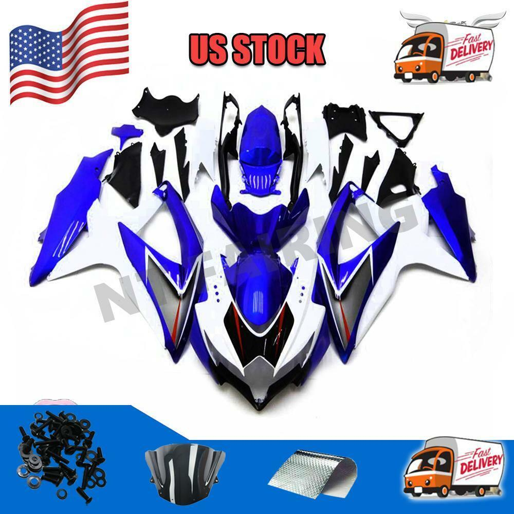 injection kit new blue white fairing fit for suzuki gsxr. Black Bedroom Furniture Sets. Home Design Ideas