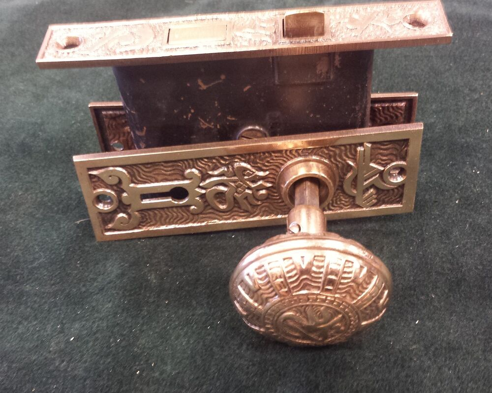 Victorian Door Knob Set Box Backplates Vintage Brass