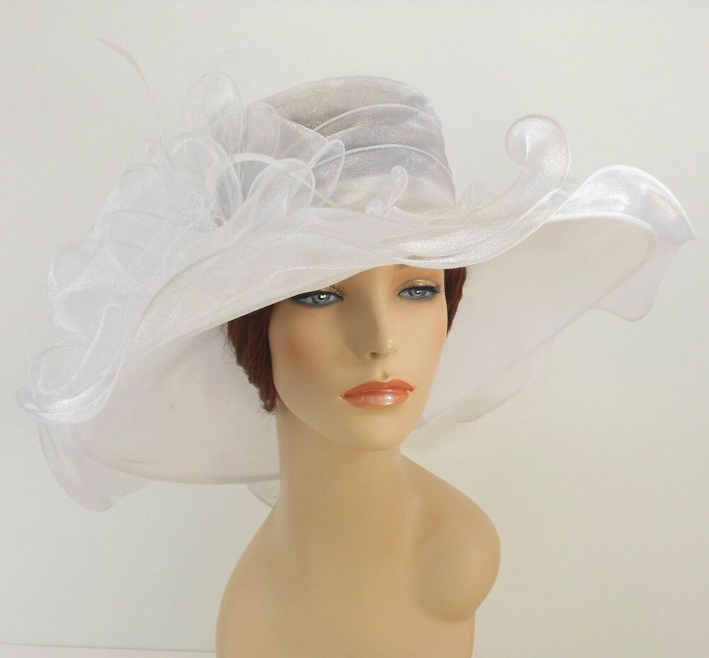 New church kentucky derby wedding organza wave ascot dress for Dress hats for weddings