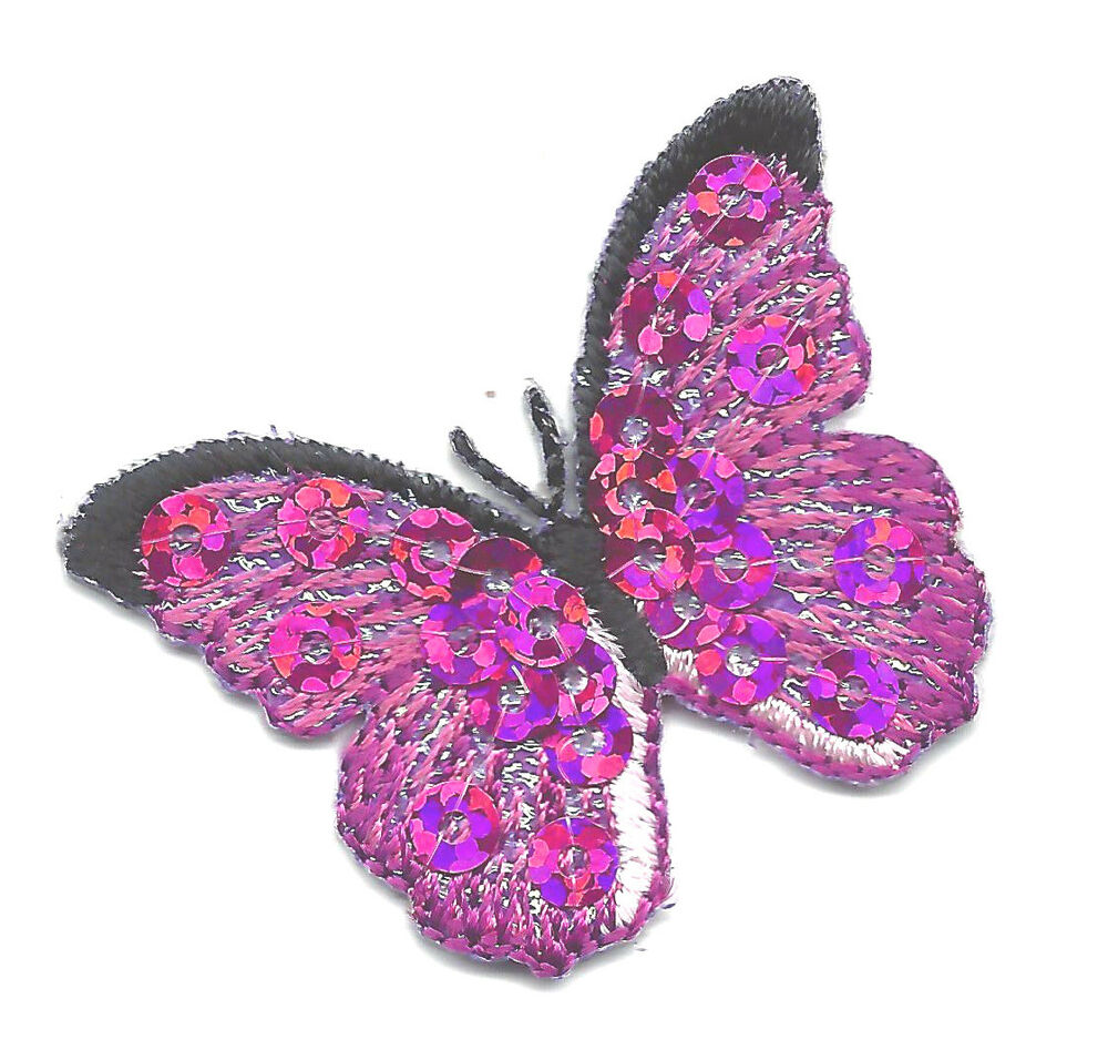 Butterfly fuchsia w sequins iron on embroidered