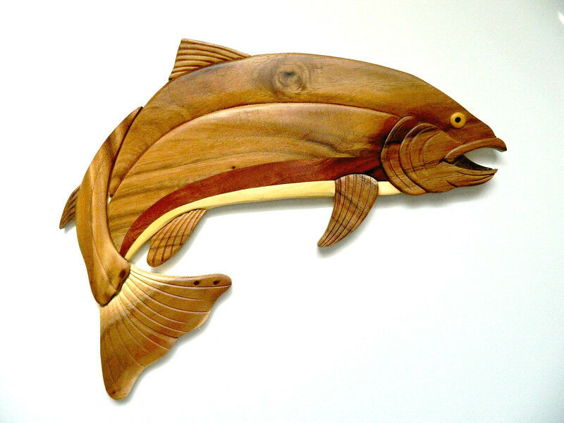 Wall Art Wood Fish : Rainbow trout fish fishing intarsia wood wall art home