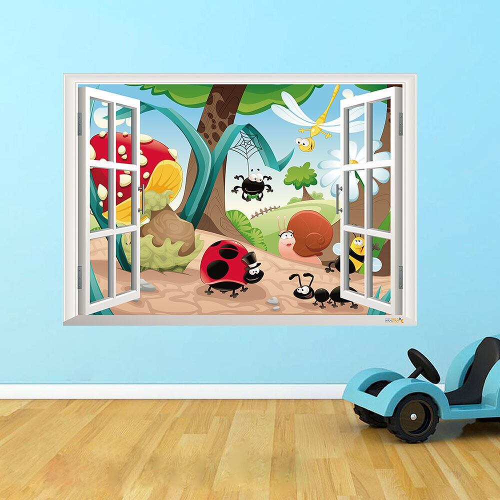 Cute 3d window insect kids room decor forest wall sticker for Decor mural 3d