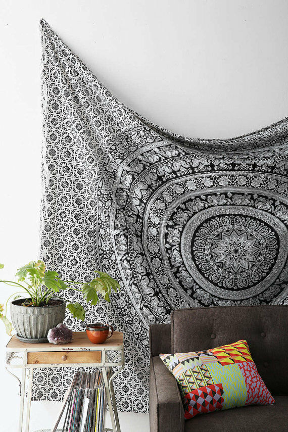 Decorative Wall Hanging Tapestry : Twin hippie tapestry wall hanging indian mandala