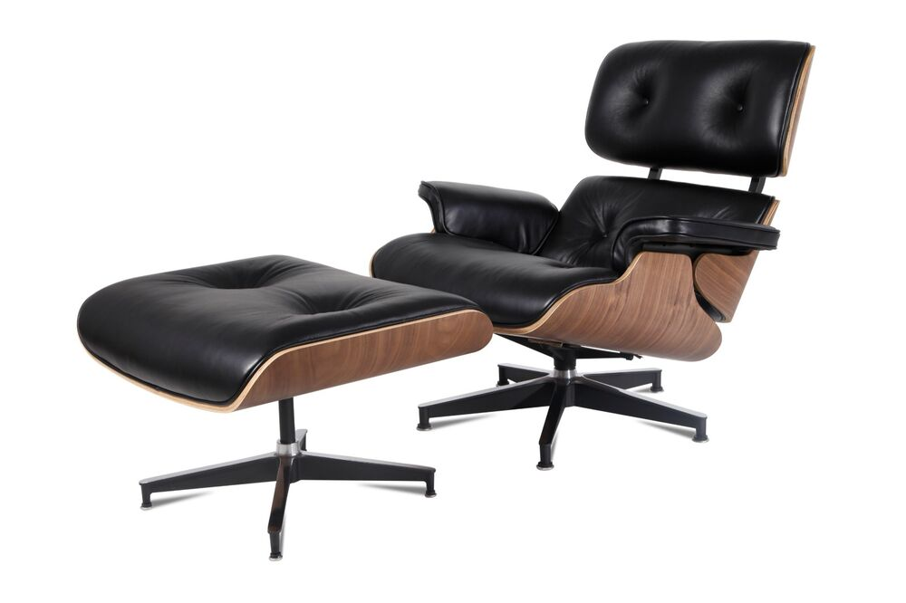 eames lounge chair ottoman reproduction style black walnut italian