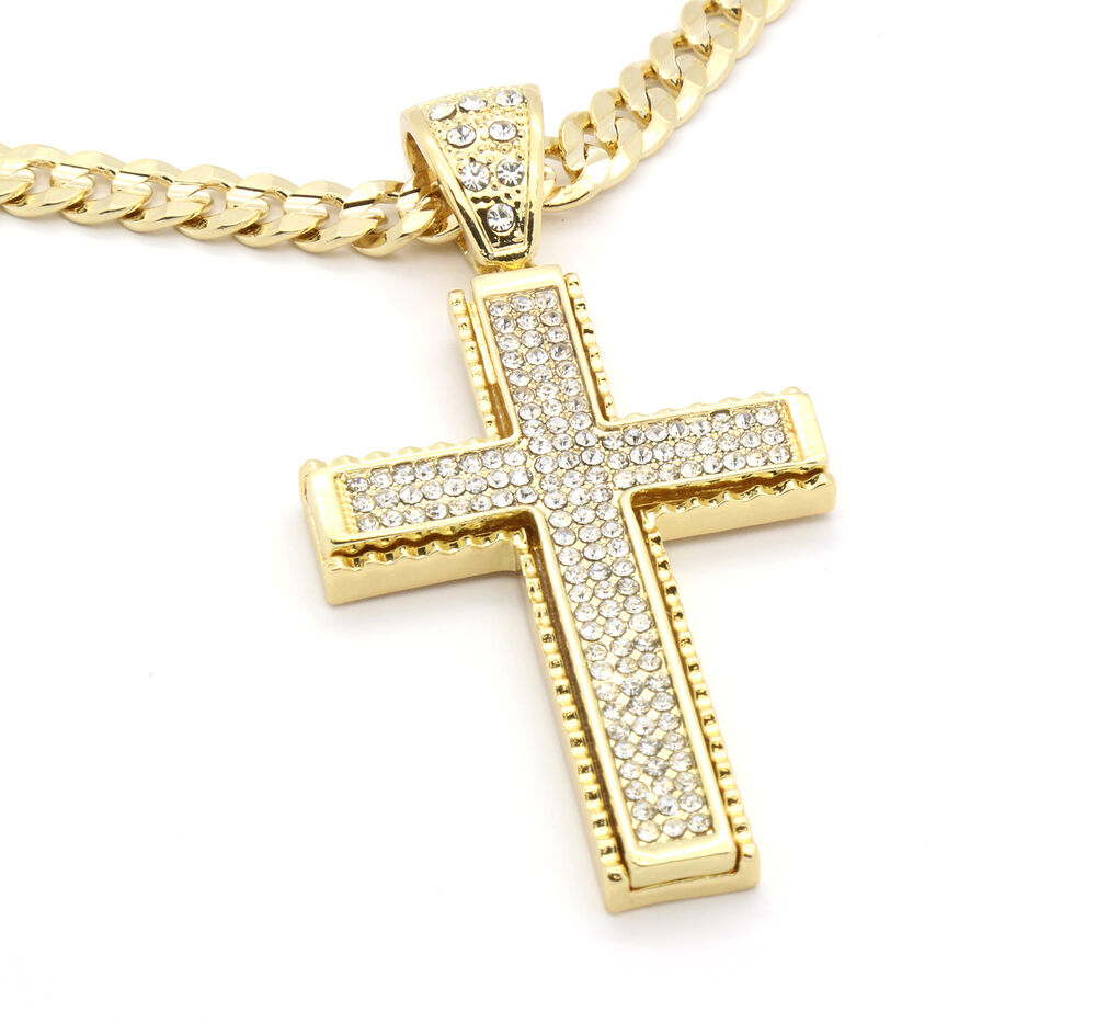 mens 14k gold plated jagged edged cross hip hop pendant 30