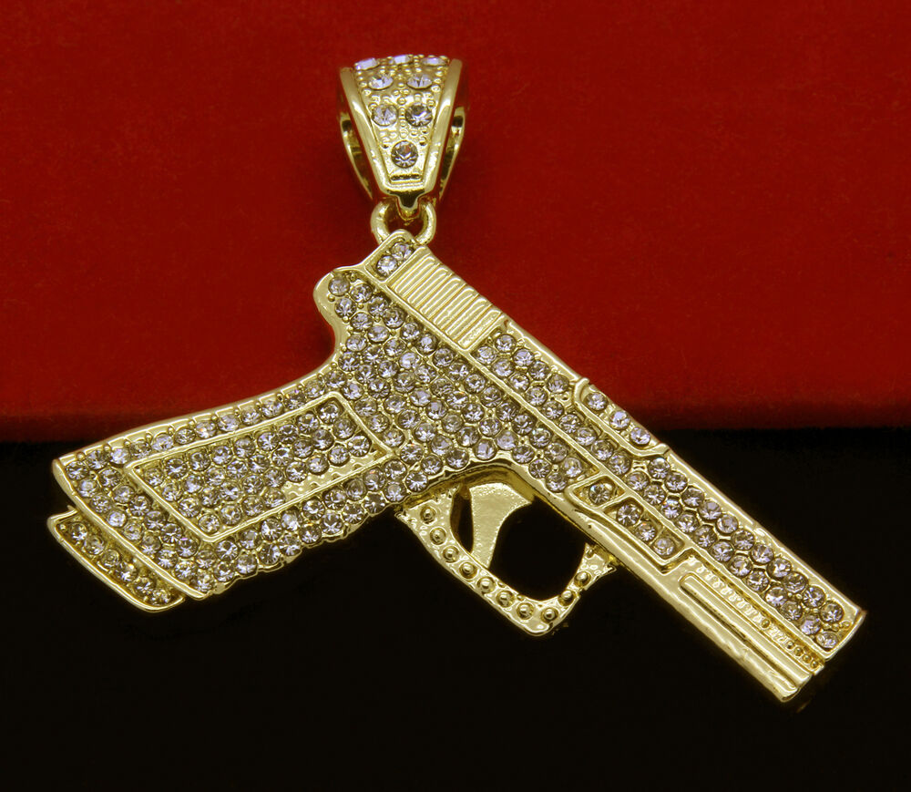 "Mens Gold Iced Out Hand Gun Pendant Hip-Hop 30"" Cuban"
