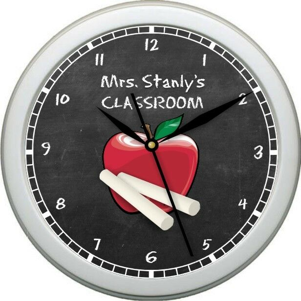 personalized teacher classroom wall clock grade. Black Bedroom Furniture Sets. Home Design Ideas
