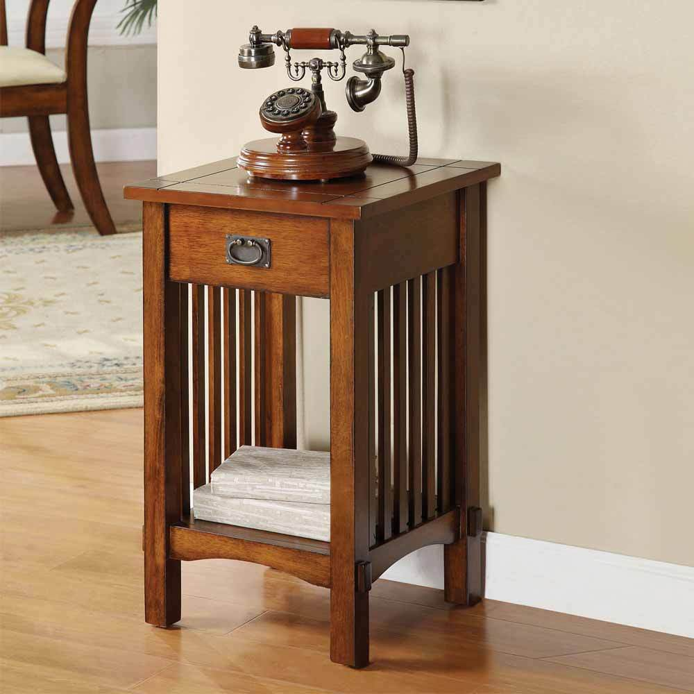 Mission Oak Side Table Mission Hallway Telephone Plant Stand Snack Table Drawer & Shelf in ...