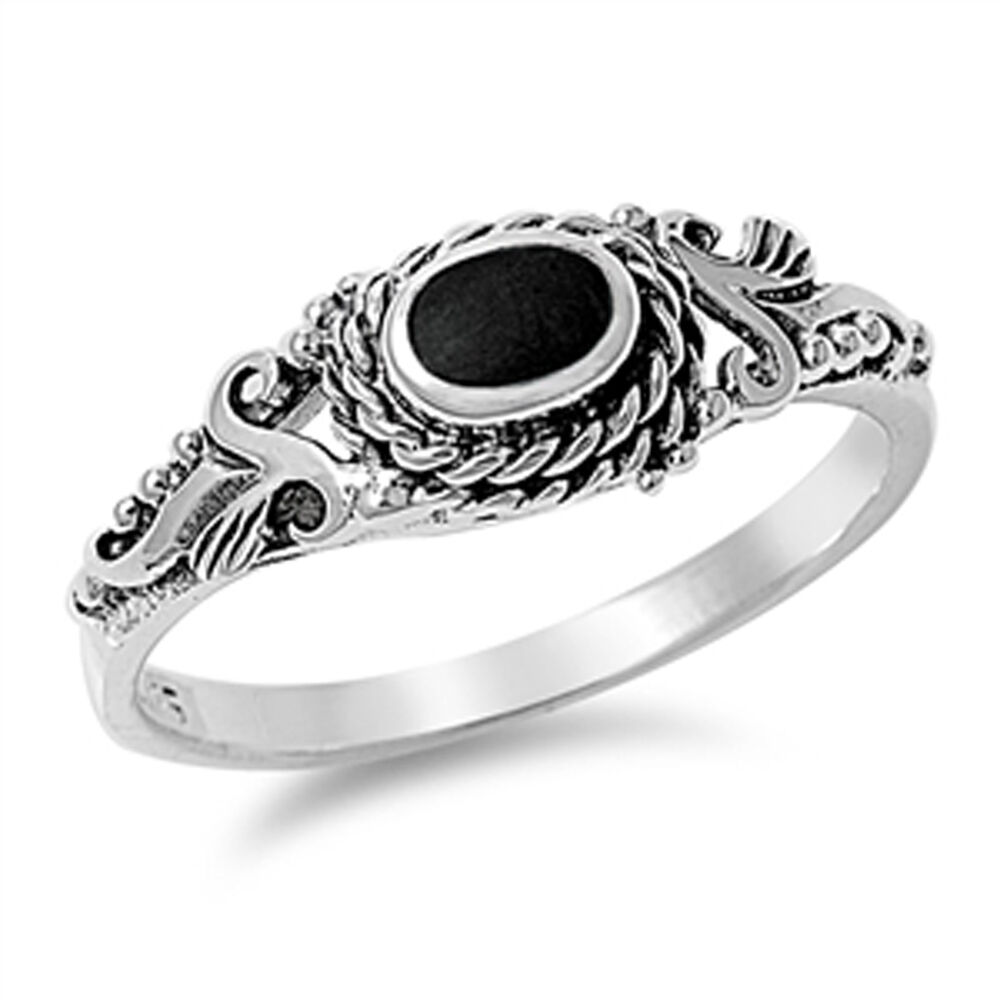 Womens Black Onyx Unique Vintage Design Ring New 925 Sterling Silver Sizes 4 10