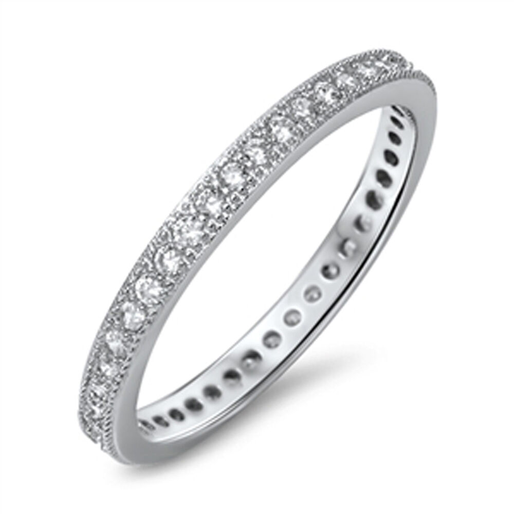 eternity white cz fashion ring new 925 sterling silver
