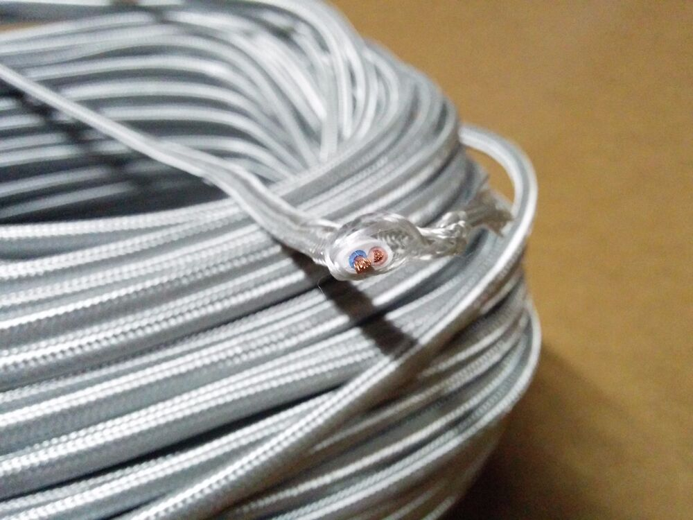 Vintage 2 Wire Flat Parallel Cloth Covered Wire Antique