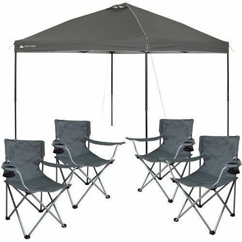 Pop Up Canopy Tent 10x10 Instant Gazebo Party Shade & 4 BONUS Folding Cha