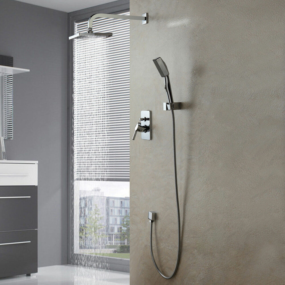 modern new wall mounted shower set faucet 8 rain shower head handheld shower ebay. Black Bedroom Furniture Sets. Home Design Ideas