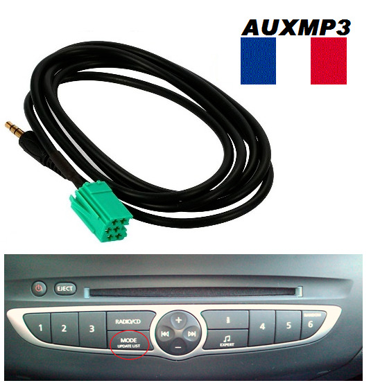 cable auxiliaire adaptateur mp3 autoradio renault update list laguna 3 ebay. Black Bedroom Furniture Sets. Home Design Ideas