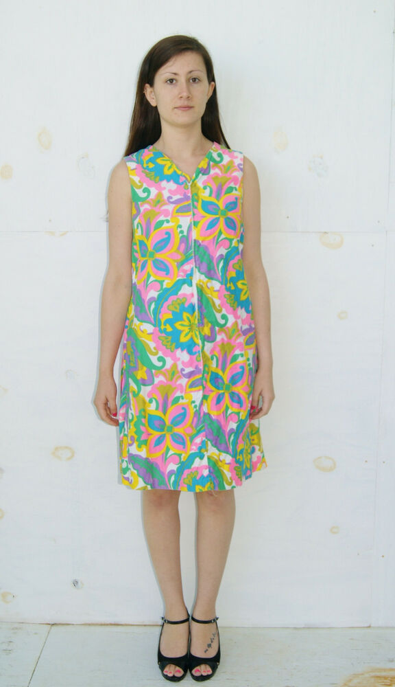 7f770afa3d Details about Vintage Vtg 1960 s Mod Hippie Neon Flower Print Dress by Sears  - Size Small