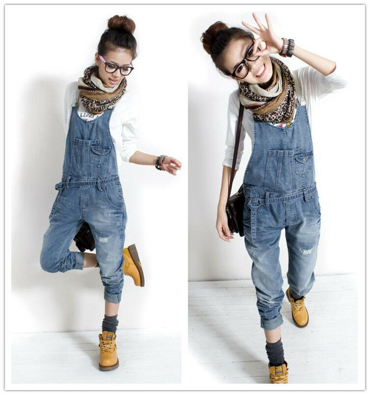 damen casual jeans cowboy overalls latzhose denim jumpsuits pants cargo hose ebay. Black Bedroom Furniture Sets. Home Design Ideas