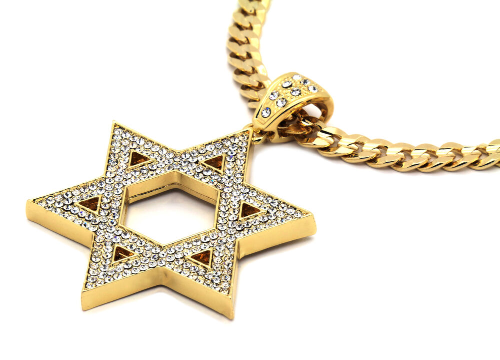 Mens gold iced out star of david pendant hip hop 30 cuban for Star of david necklace mens jewelry