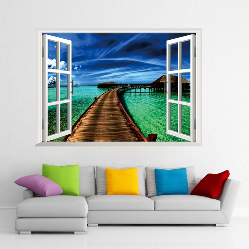 3d window ocean sea wooden bridge art wall sticker wallpaper wall decals mural ebay. Black Bedroom Furniture Sets. Home Design Ideas