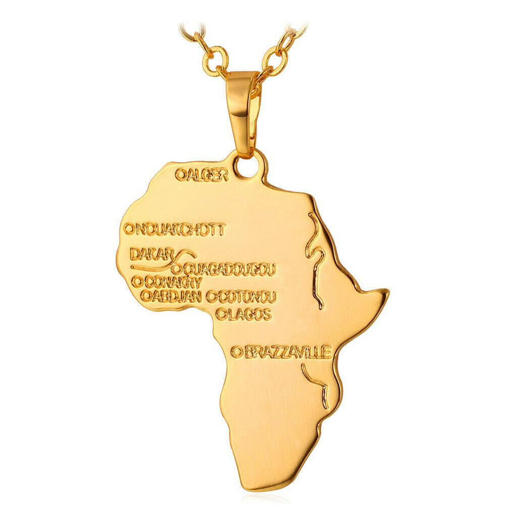 Africa Map Continent Pendant Hip Hop Necklace Gold Plated