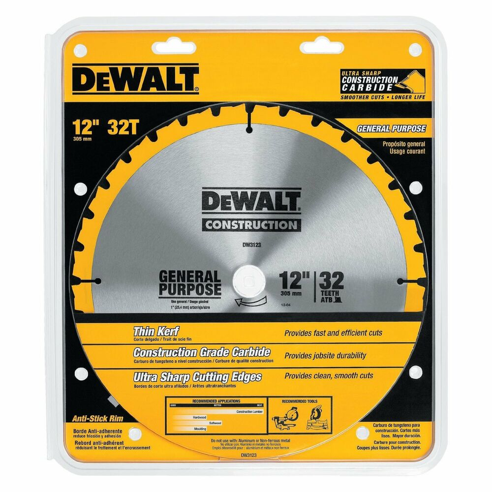 Dewalt dw3123 12 inch 32 tooth atb thin kerf general for 12 inch table saw blades
