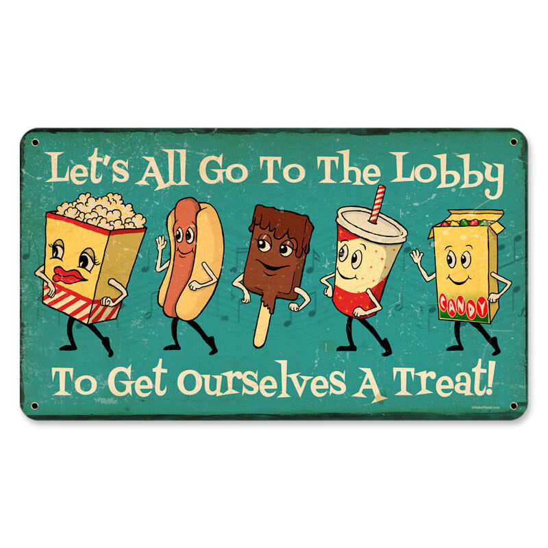 Let S Go To The Movies: Cute Vintage Style Let's All Go To The Lobby Snacks Steel