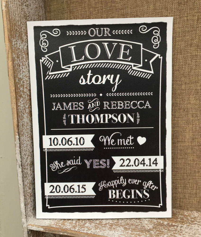 Our Love Story Wedding Idea: PERSONALISED OUR LOVE STORY CHALKBOARD STYLE WEDDING DATE