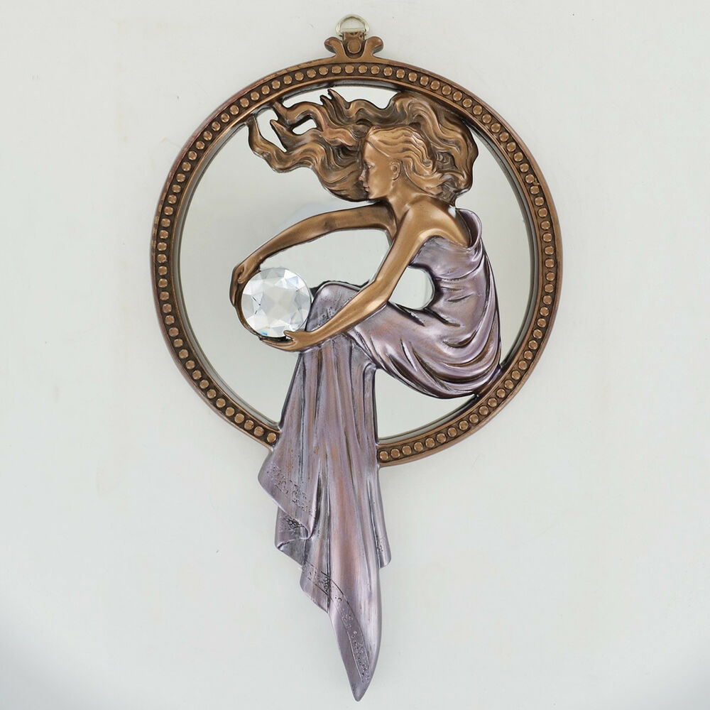 Art deco lady women holding crystal bronze wall mirror for Bronze wall art