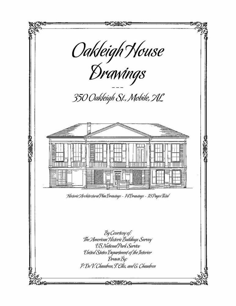 Oakleigh house drawings mobile al historic house plans for House plans mobile al