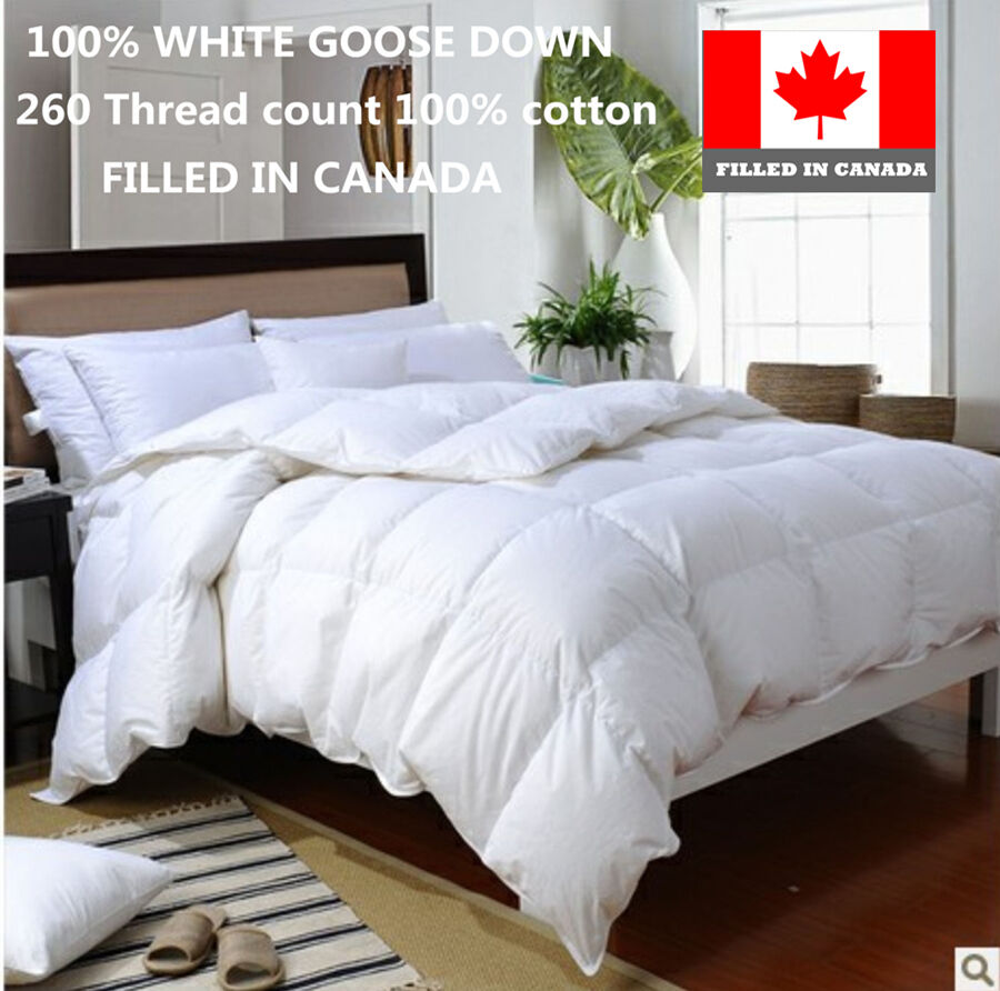 100 Cotton White Goose Down Duvet Comforter Filled In