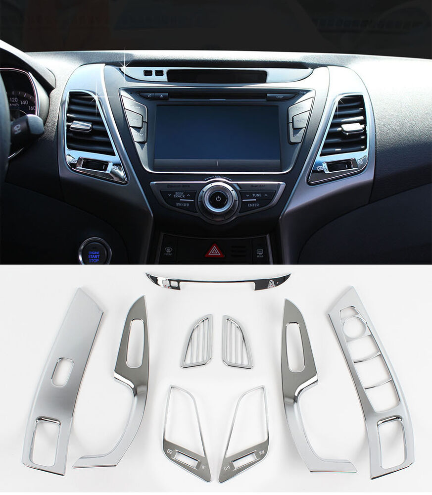 Chrome Interior Molding 9p 1set For 2014 2015 Hyundai Elantra Avante Md Ebay