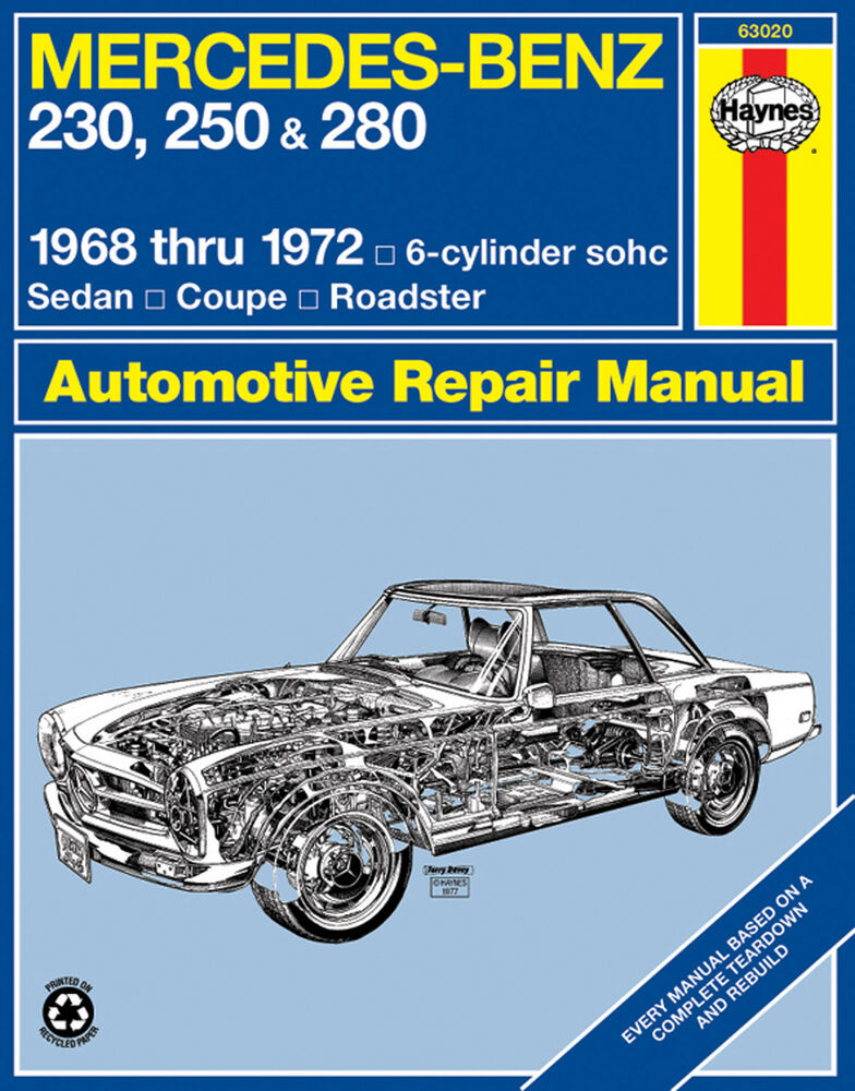 Haynes 63020 repair manual mercedes benz 230 250 280 for Mercedes benz repairs