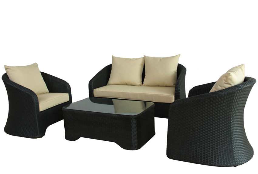 polyrattan lounge schwarz gartenm bel poly rattan garnitur sitzgruppe alu neu ebay. Black Bedroom Furniture Sets. Home Design Ideas