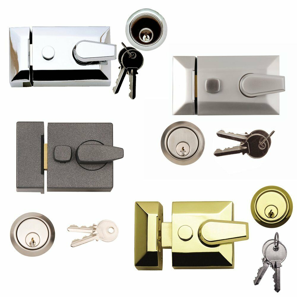 Night latch lock front door cylinder black brass satin for Door lock types